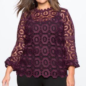 Eloquii Crochet Lace Plum Purple Top